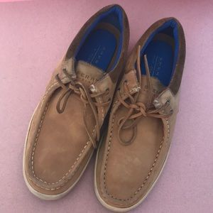 Tan Sperry leather boat shoes